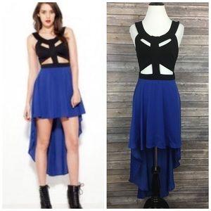 Reverse Cutout High Low Dress